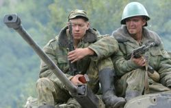 Russian soldiers on the tank